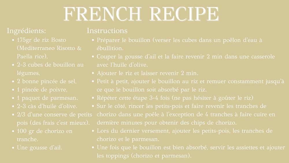 French recipe of the healthy peas & chorizo risotto