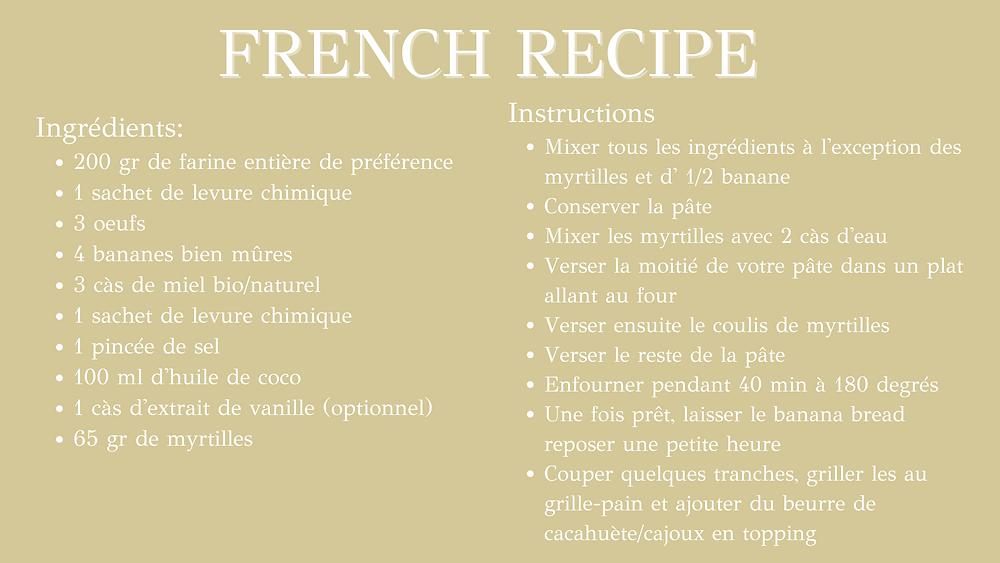 Blueberry Banana bread - Healthy french recipe