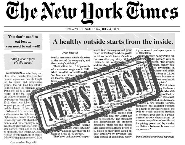 NY Times' article: A healthy oustide starts from the inside.