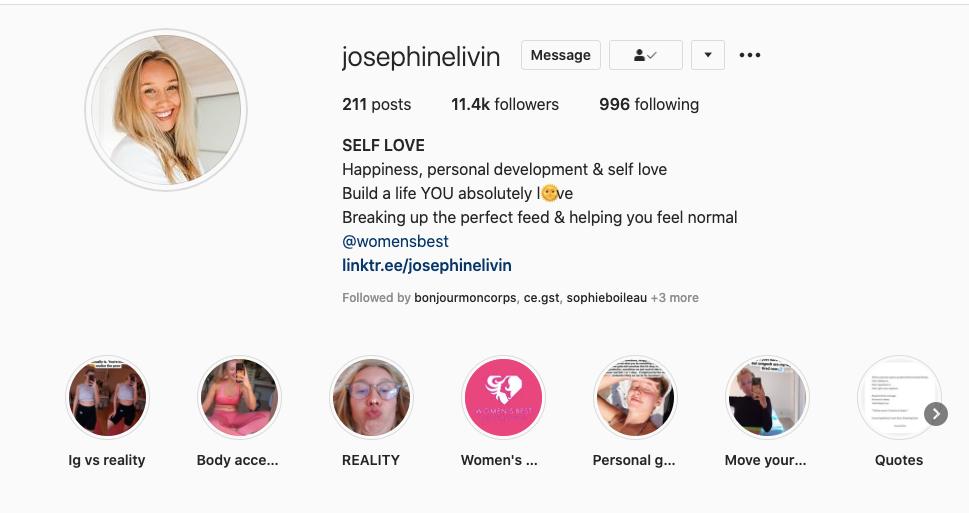 Self-love Instagram account screenshot