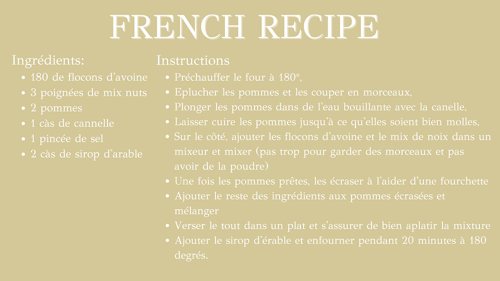 Energy-need protein bar - french recipe
