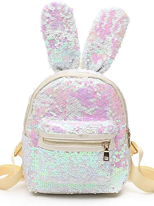 Small Sequin Backpack Purse Fashion Bunny Leather Urban Daypack