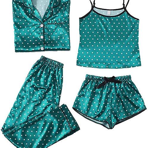 Sleepwear 4pcs Satin Cami with Shirt Pajama Set