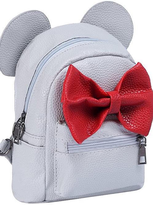 Leather Mouse Ear Bow Backpack Shoulder School Mini Travel Satchel Casual Bag Ru