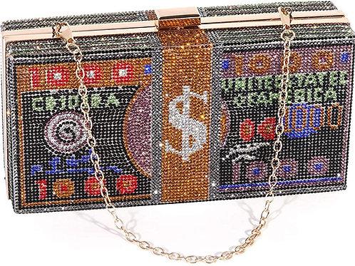 Dollar Evening Bags Shiny Rhinestone Clutch Money Purses Fashion Shoulder Bag