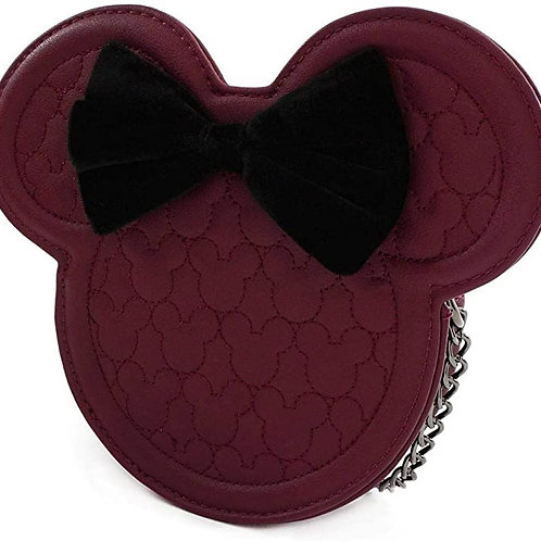 Loungefly x Minnie Mouse Silhouette Quilted Crossbody Bag with Velvet Bow