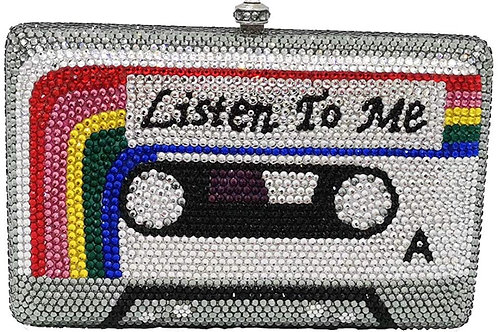 Cassette Tape Minaudiere Bag Crystal Clutch