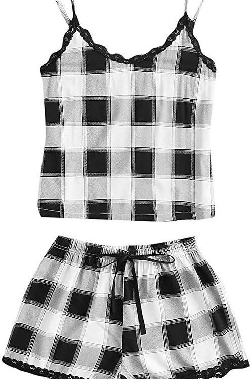 Sleepwear Set Plaid Print Cami Top and Elastic Waist Short Pajama Set