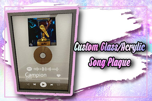 Custom Glass/Acrylic Song Plaque With Frame