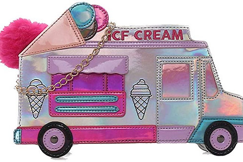 Ice Cream Cart Shaped Holographic Crossbody Bag Purse