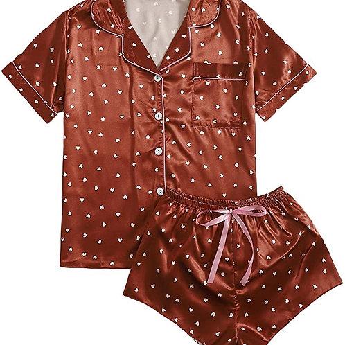Sleepwear Striped Satin Short Sleeve Shirt and Shorts Pajama Set