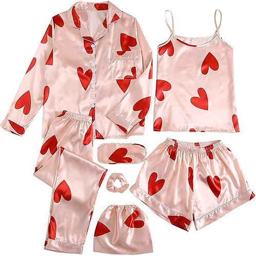 7 Pcs Pajama Set Comfy Cami Pjs with Shirt and Eye Mask