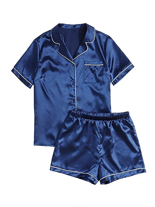 Sweaty Rocks Short Sleeve Sleepwear Button Down Satin 2 Piece Pajama Set