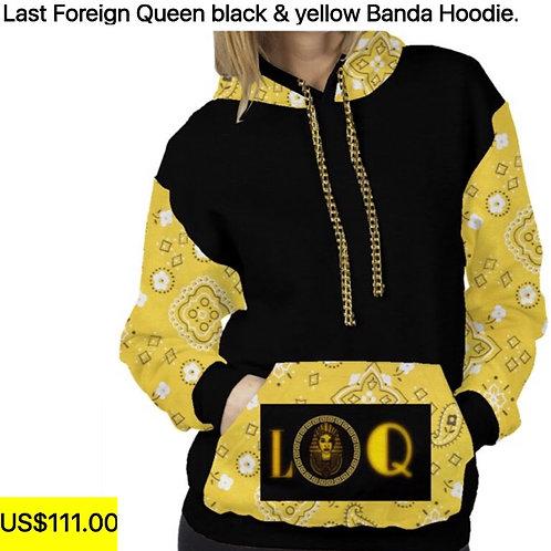 L.F.Q black & yellow bandana hoodie
