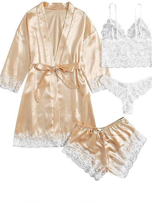 4 Pieces Satin Floral Lace Cami Top Lingerie Pajama Set with Robe