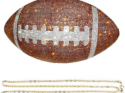unidressup Large Size Shiny Rhinestone Football Shaped Handbag Purse Chain Strap