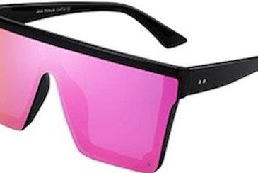 Flat Top Shield Sunglasses Square Mirror Rimless Glasses