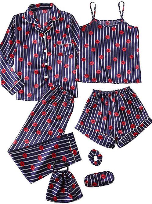 7pcs Pajama Set Cami Pjs with Shirt and Eye Mask