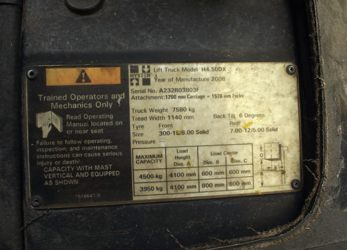 HYSTER H4.50DX nameplate