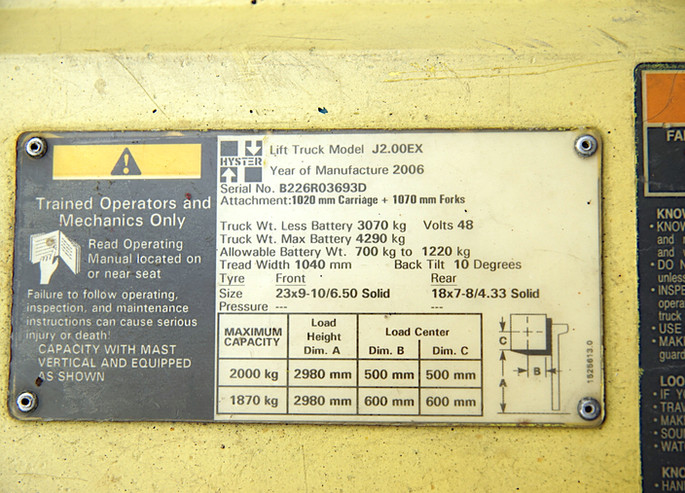 HYSTER J2.00EX nameplate