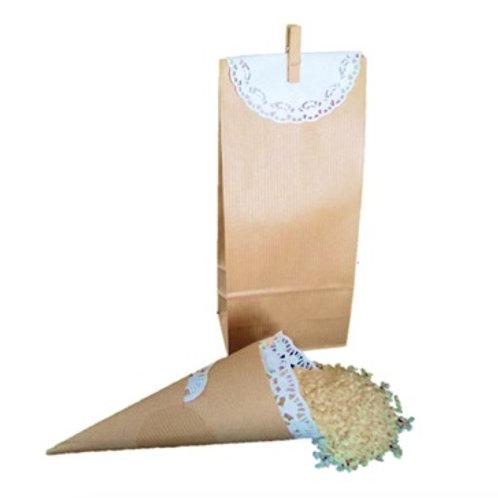 Conjunto kraft Boda: 25 conos para arroz y 25 bolsas con blonda y pinza