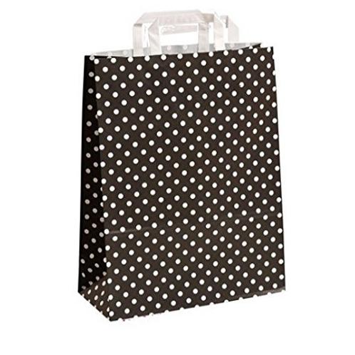 25 Bolsas de papel negro topos blancos 22x10x31 cm