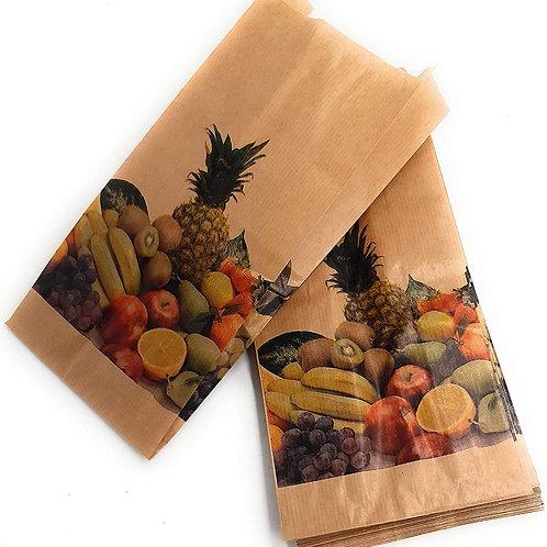 Bolsa para frutería Kraft antihumedad  14 + 7 x 29