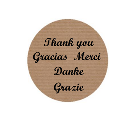 "100 Etiquetas adhesivas ""Thank You, Gracias, Grazie, Merci, Danke"""