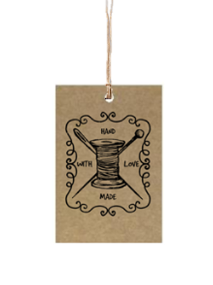 "Etiqueta de cartón impresa ""Hand Made with Love"", 4x6 cm"