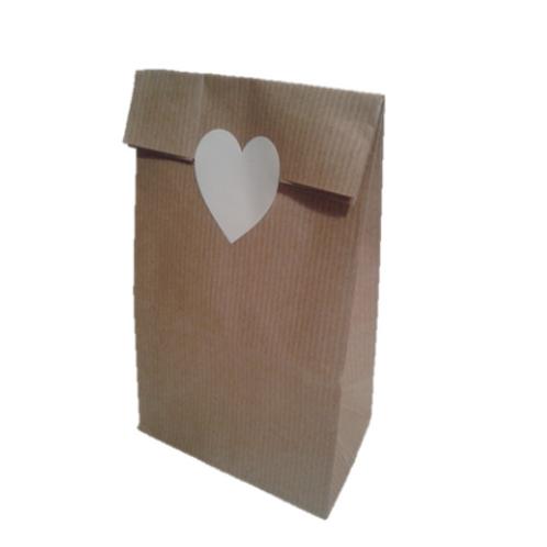 Bolsa sin Asas Kraft con etiqueta adhesiva corazón blanco