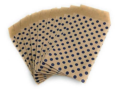 100 mini bolsa-sobre kraft topos azul, 11 x 7 cm
