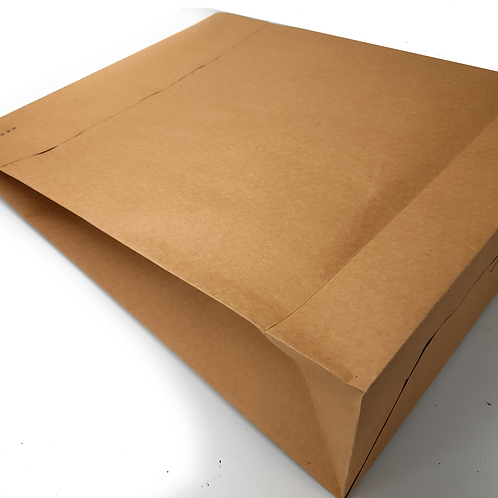 Sobre venta online doble cierre, papel kraft 126 gr, 3 fuelles, 350x450x120 mm