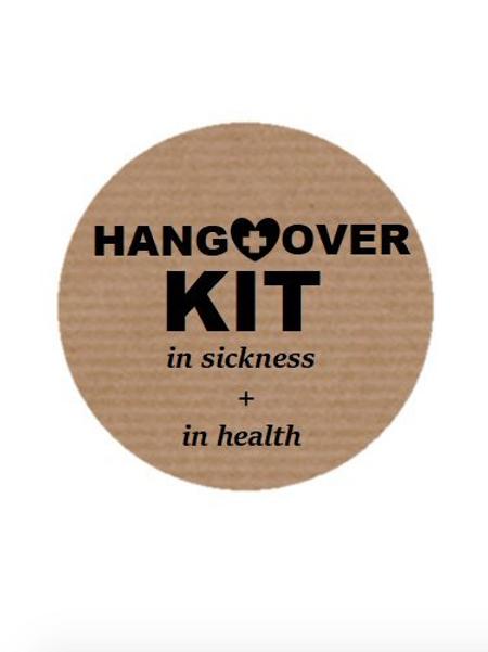 100 Etiquetas adhesivas Kit Anti-Resaca. Texto en inglés.