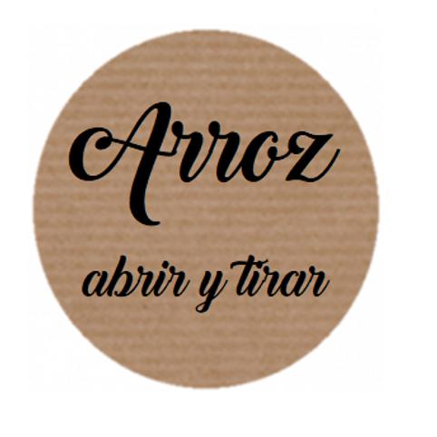 100 Etiquetas adhesivas kraft para bolsas de Arroz en tu boda