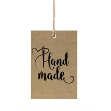 """Etiqueta de cartón impresa """"Hand Made"""", 4x6 cm"""
