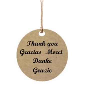 """Etiqueta de cartón impresa """"Gracias, Thank you,..."""", 4x4 cm"""