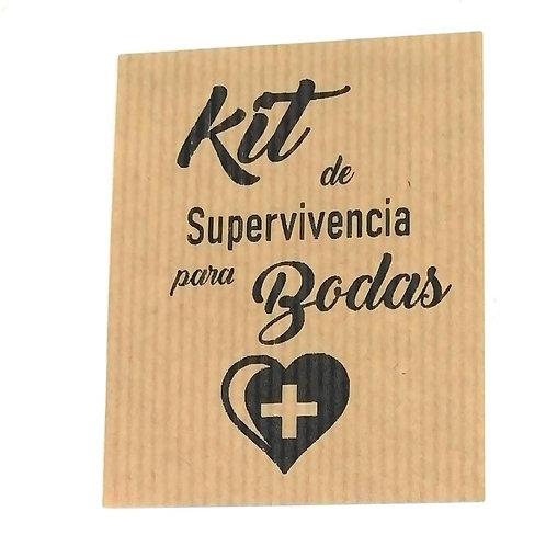 Etiquetas kraft adhesivas kit supervivencia para bodas