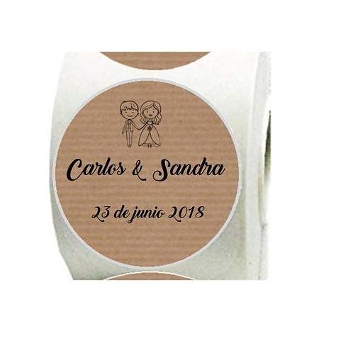 Etiquetas kraft adhesivas Pareja Mr &Mrs para boda personalizada