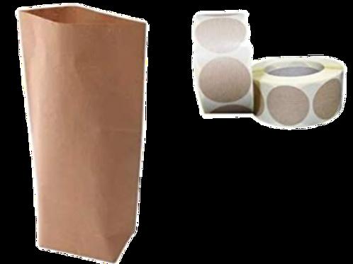 50 Bolsas papel kraft marrón con base cilíndrica y etiqueta de cierre