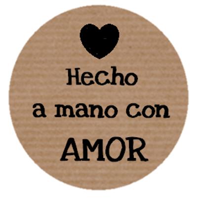 """100 Etiquetas adhesivas """"Hecho a mano con Amor"""""""