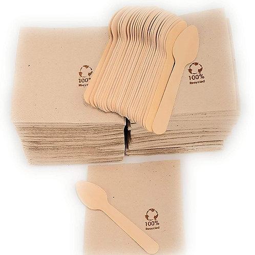 Conjunto 50 cucharitas de madera y 150 servilletas kraft