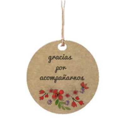 """Etiqueta de cartón impresa """"Gracias por acompañarnos"""", 4x4 cm"""
