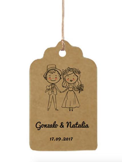 Etiqueta de cartón impresa, 55 x 35 mm, Boda