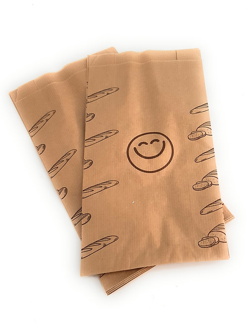 Bolsas kraft para bocadillo o bollería con dibujo 14+7x27 cm
