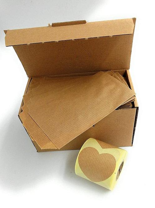 250 sobres bolsas de papel kraft 7 x 12 cm con etiqueta de cierre