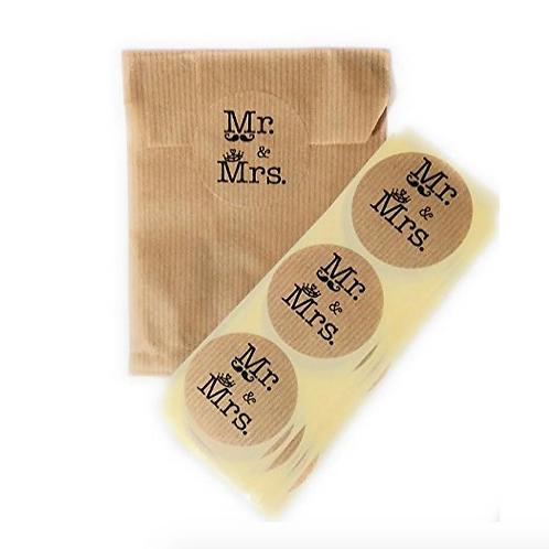 Bolsitas kraft 18 x 11 cm con etiqueta de cierre Mr & Mrs