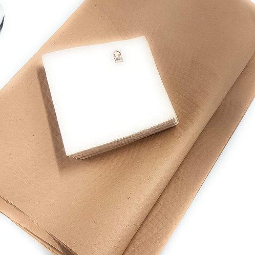 10 Manteles de papel kraft 120 x120 cm con 100 servilletas kraft 33 x 33 cm