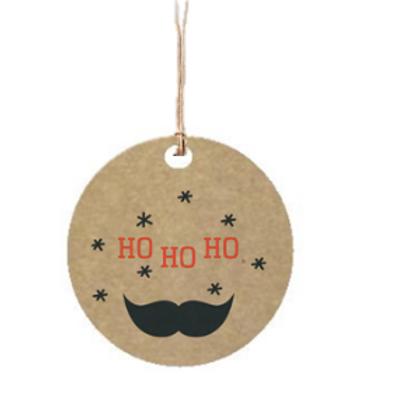 """Etiqueta de cartón impresa """"Ho, Ho, Ho"""", 4x4 cm"""