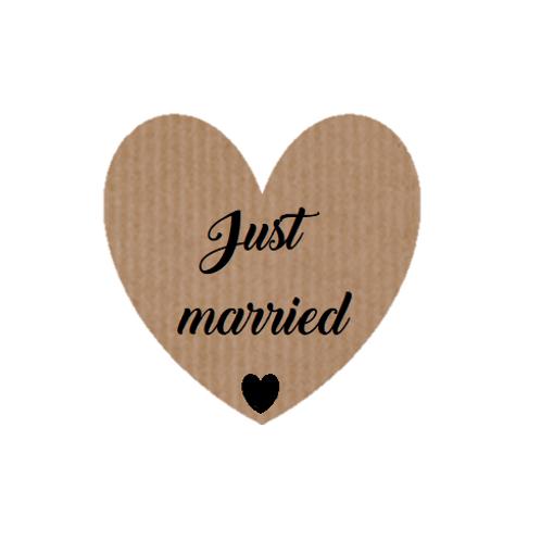 """100 Etiquetas adhesivas """"Just Married"""""""