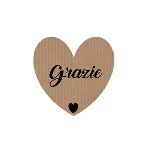 """100 Etiquetas adhesivas """"Grazie"""""""